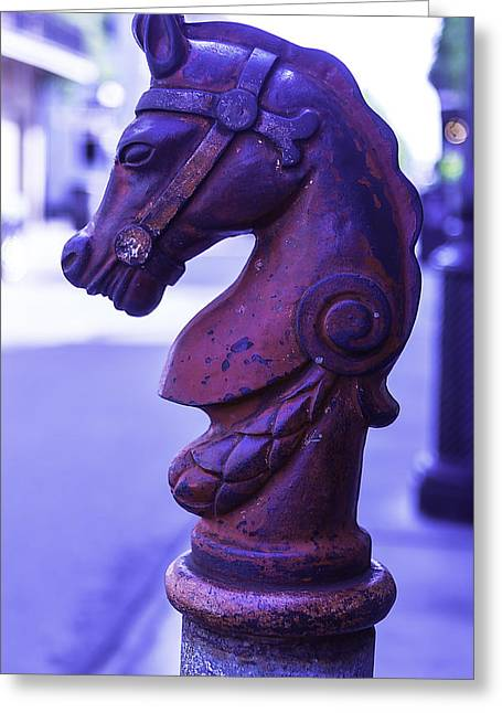 Rue Bourbon Greeting Cards - Red Horse Hitching Post Greeting Card by Garry Gay