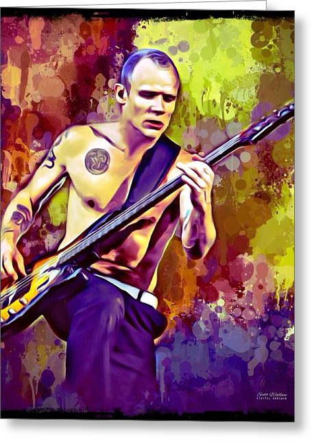 Fame Greeting Cards - Red Hot Chili Peppers Flea Greeting Card by Scott Wallace