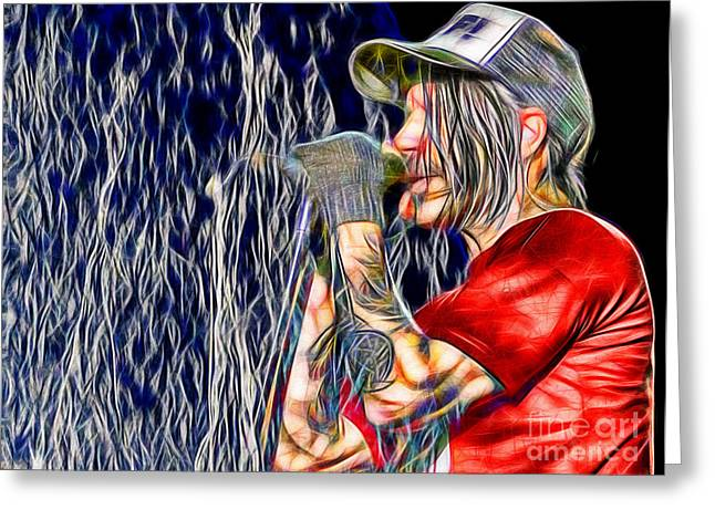Rhcp Greeting Cards - Red Hot Chili Peppers in Color Greeting Card by Daniel Janda