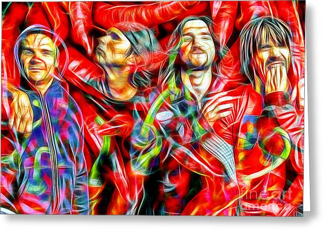 Rhcp Greeting Cards - Red Hot Chili Peppers in Color II  Greeting Card by Daniel Janda