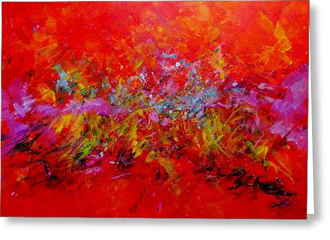 Intense Color Greeting Cards - Red Hot Go Running Again Greeting Card by Carol Suzanne Niebuhr