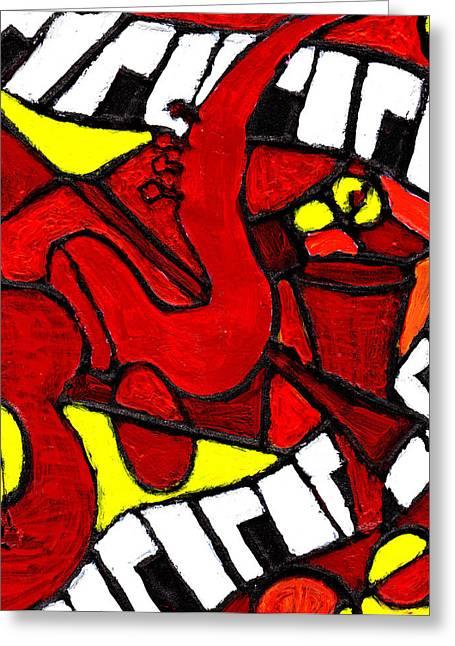 . Music Greeting Cards - Red Hot Jazz Greeting Card by Wayne Potrafka