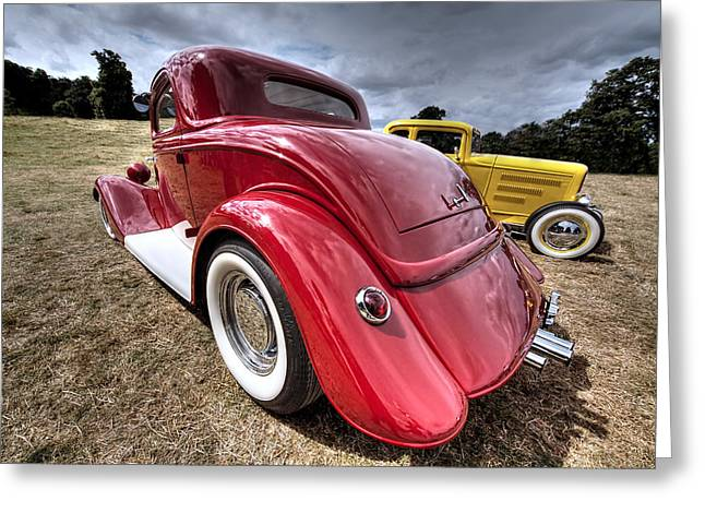 Red Street Rod Greeting Cards - Red Hot Rod - 1930s Ford Coupe Greeting Card by Gill Billington