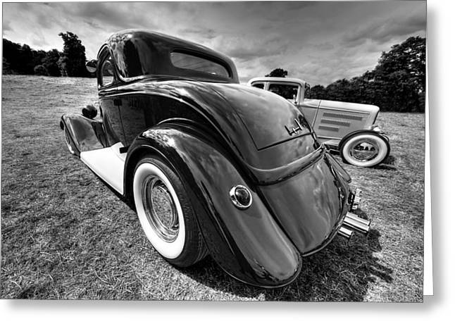 Monochrome Hot Rod Greeting Cards - Red Hot Rod in Black and White Greeting Card by Gill Billington