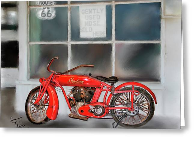 Motorcycles Mixed Media Greeting Cards - Red Hot Tail Gunner Greeting Card by Colleen Taylor