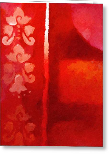 Abstract Field Greeting Cards - Red Impasto Greeting Card by Lutz Baar