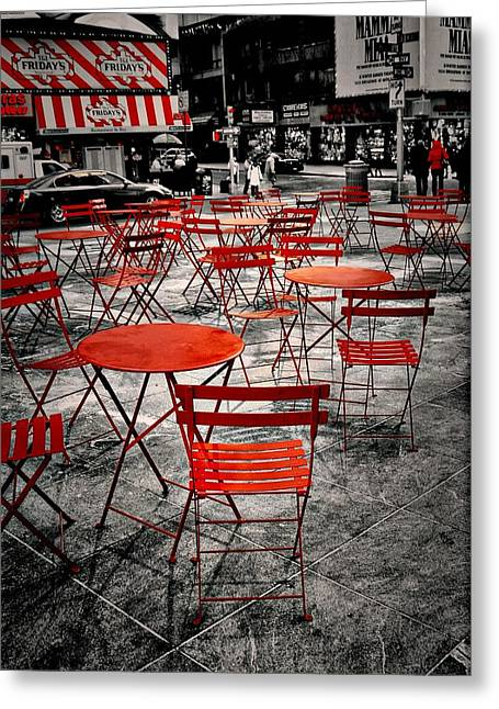 Times Square Digital Art Greeting Cards - Red In My World - New York City Greeting Card by Angie Tirado