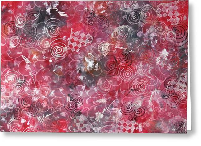 Red Abstracts Tapestries - Textiles Greeting Cards - Red in white Greeting Card by Alons Irina