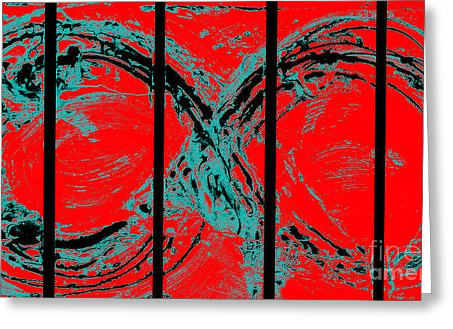 Splashy Mixed Media Greeting Cards - Red Infinity Modern Painting Abstract by Robert R Splashy Art Greeting Card by Robert R Splashy Art