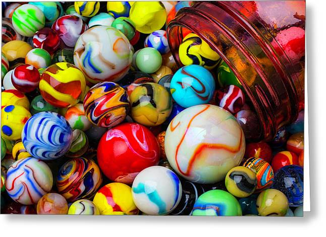 Red Jar Spilling Marbles Greeting Card by Garry Gay