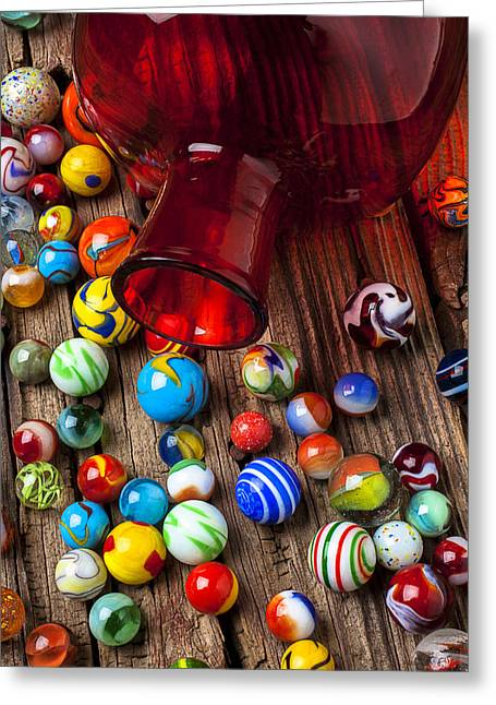 Plaything Greeting Cards - Red jar with marbles Greeting Card by Garry Gay