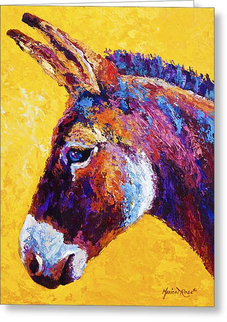 Donkey Greeting Cards - Red Jenny Greeting Card by Marion Rose