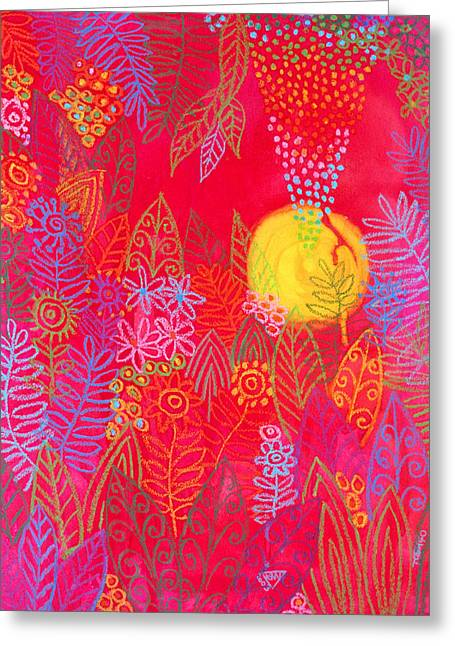 Red Jungle Passionate Sun Greeting Card by Jennifer Baird