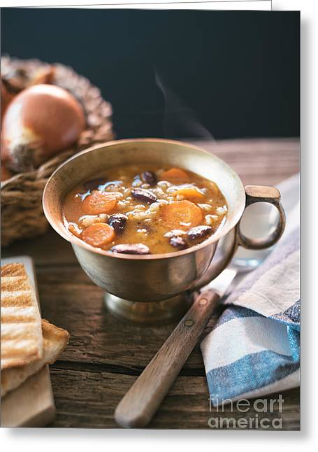 Red Kidney Bean Soup With Carrots And Barley Greeting Card by Viktor Pravdica