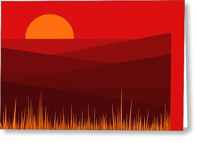 Minimalist Landscape Greeting Cards - Red Landscape Greeting Card by Val Arie