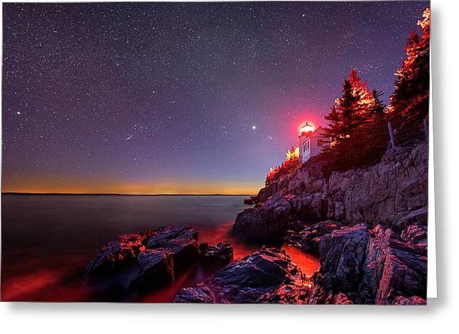 Bass Head Light Greeting Cards - Red Lantern Greeting Card by Michael Blanchette