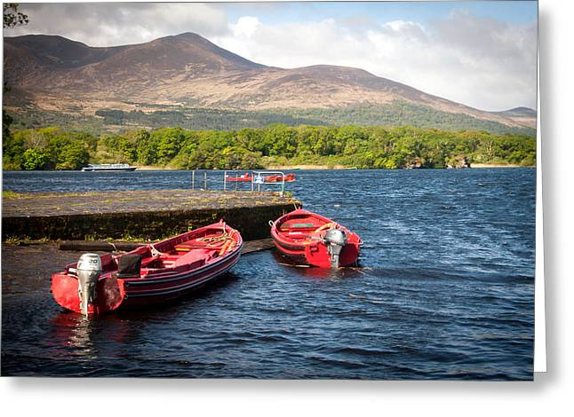 Tommie Greeting Cards - Red Laune Boats Greeting Card by Mark Callanan