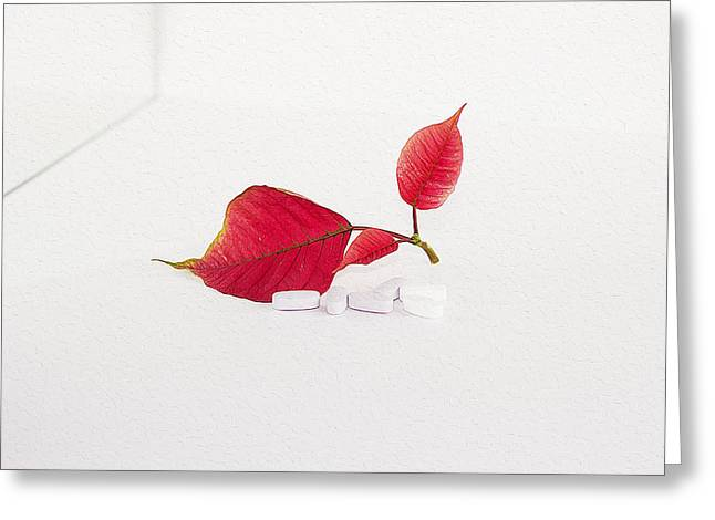 Medical Greeting Cards - Red leaves and medicines Greeting Card by Queso Espinosa