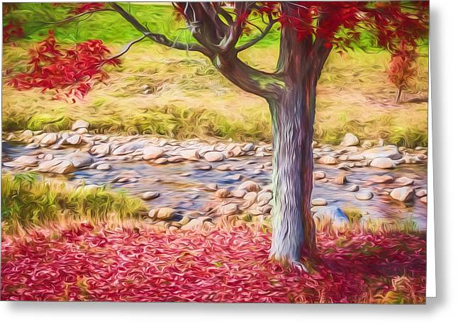 Reflecting Water Greeting Cards - Red Leaves Falling Painted Greeting Card by Black Brook Photography