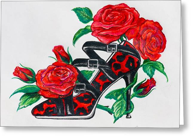 Leopard Drawings Greeting Cards - Red Leopard Roses Greeting Card by Karon Melillo DeVega