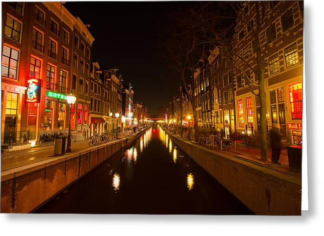 Prostitution Paintings Greeting Cards - Red light district Greeting Card by Vision Fine   Art