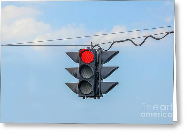 Traffic Control Greeting Cards - Red light Greeting Card by Patricia Hofmeester