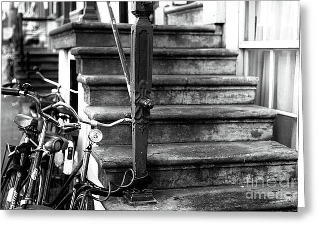 Red Light Stone Steps Mono Greeting Card by John Rizzuto