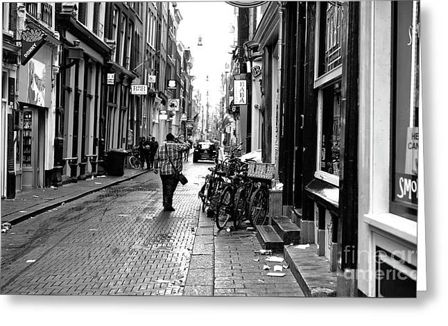 Red Light Street Mono Greeting Card by John Rizzuto