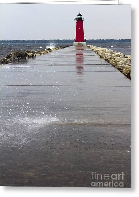 Red Lighthouse Greeting Card by Tara Lynn