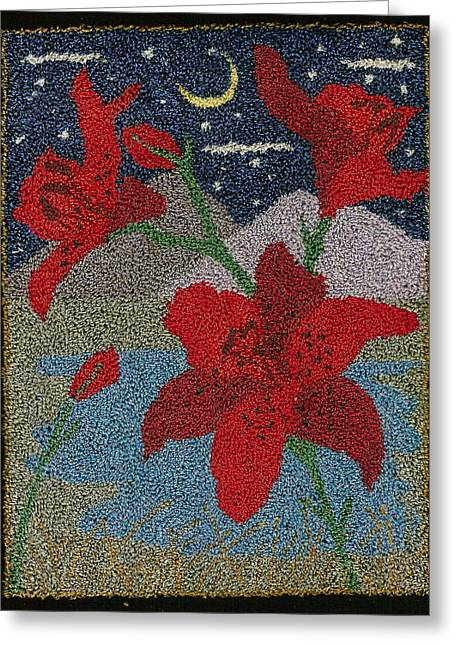 Primitive Tapestries - Textiles Greeting Cards - Red Lillies In The Moonlight Greeting Card by Jan Schlieper
