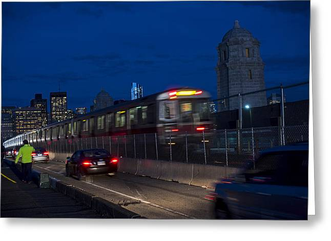 Red Line Train Rumbling Over The Longfellow Bridge In Boston Ma Greeting Card by Toby McGuire