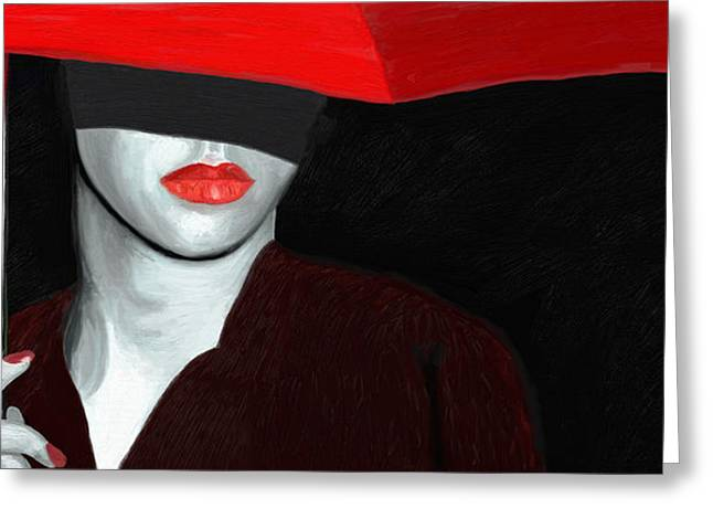 Red Lips and Umbrella Greeting Card by James Shepherd