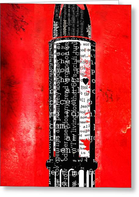 Juvenile Wall Decor Mixed Media Greeting Cards - Red Liptstick and Typography Art Print Greeting Card by ArtyZen Studios - ArtyZen Home