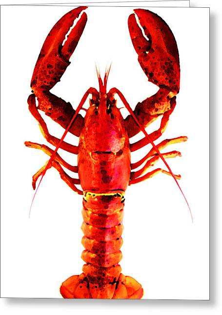 Gourmet Art Greeting Cards - Red Lobster - Full Body Seafood Art Greeting Card by Sharon Cummings