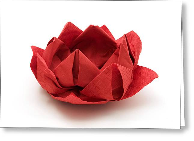 Paper Cut Outs Greeting Cards - Red lotus origami Greeting Card by Fabrizio Troiani