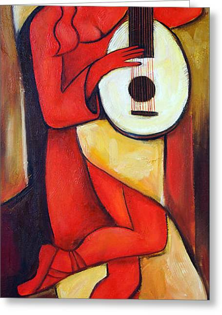 Red Lute Greeting Card by Valerie Vescovi