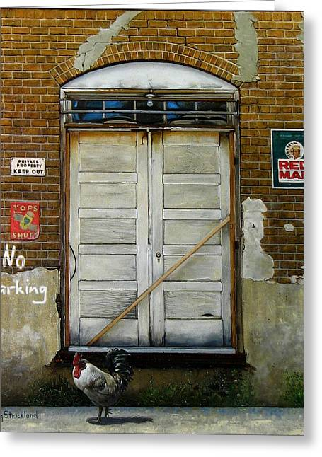 Barn Door Paintings Greeting Cards - Red Man Greeting Card by Doug Strickland