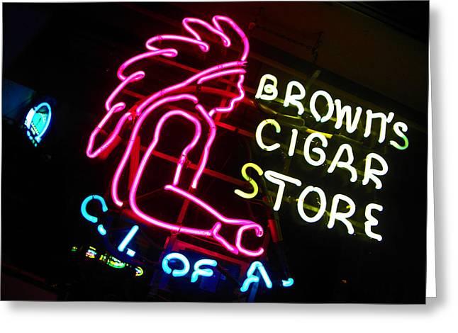 Red Man's Smoke Shop Greeting Card by Elizabeth Hoskinson