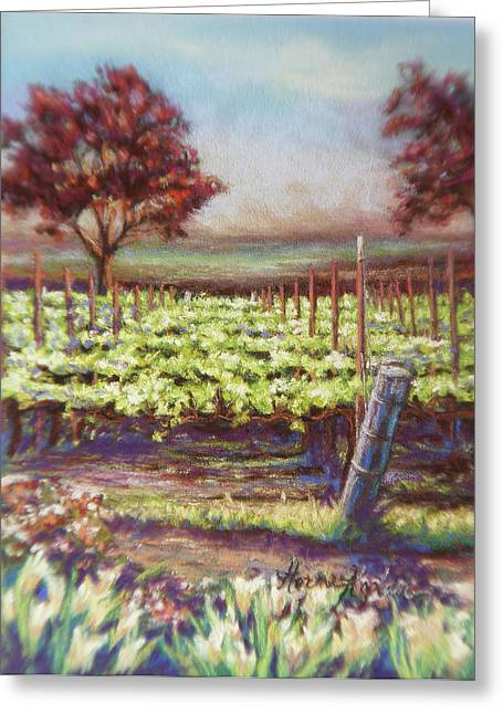 Grapevines Pastels Greeting Cards - Red Maples and Dafodills Greeting Card by Denise Horne-Kaplan