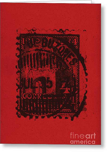 Distortion Mixed Media Greeting Cards - Red Mark Greeting Card by Brian Drake - Printscapes