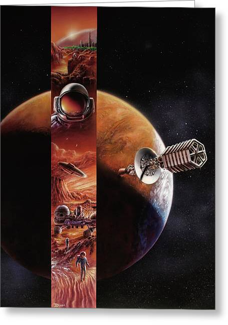 Red Mars Cover Painting Greeting Card by Don Dixon