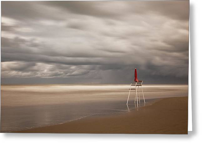Beach Landscape Greeting Cards - Red Greeting Card by Massimo Della Latta