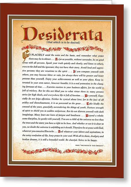 Recently Sold -  - Motivational Poster Greeting Cards - Red Matted Floral Scroll DESIDERATA Poem Greeting Card by Desiderata Gallery