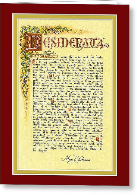 Recently Sold -  - Motivational Poster Greeting Cards - Red Matted Florentine DESIDERATA Poster Greeting Card by Desiderata Gallery