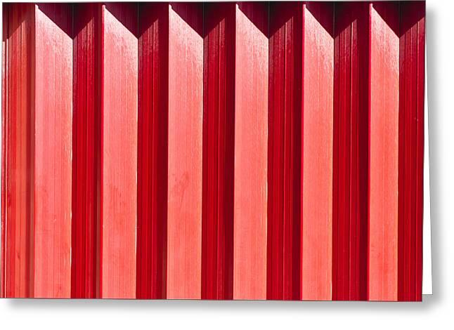 Red Metal Door Greeting Card by Tom Gowanlock