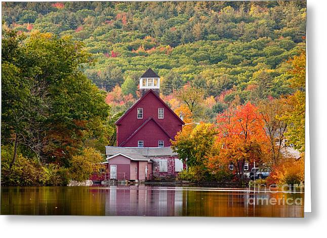 New England Village Greeting Cards - Red Mill in Autumn Greeting Card by Susan Cole Kelly