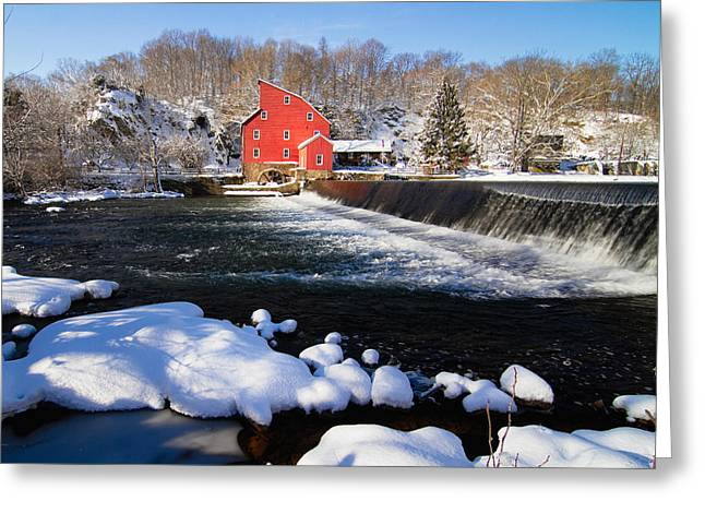 Red Mill Historic Village Greeting Cards - Red Mill in Winter Landscape Greeting Card by George Oze