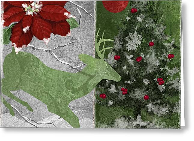 Christmas Art Paintings Greeting Cards - Red Moon Christmas Deer Greeting Card by Mindy Sommers