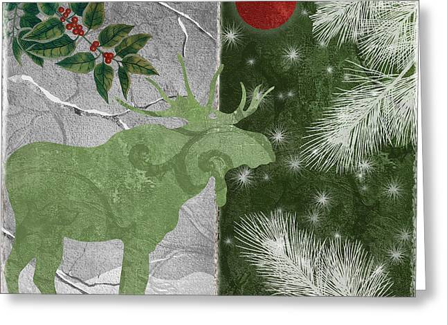 Pinecones Greeting Cards - Red Moon Christmas Moose Greeting Card by Mindy Sommers