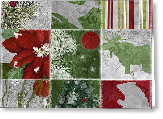 Patch Greeting Cards - Red Moon Christmas Patchwork Greeting Card by Mindy Sommers